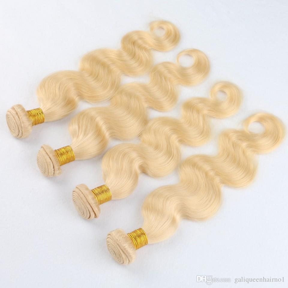 Brezilyalı Vücut Dalga Düz Saç Örgüleri Çift Atkı 100 g / adet 613 Rus Sarışın Renk Boyalı Insan Remy Saç Uzantıları