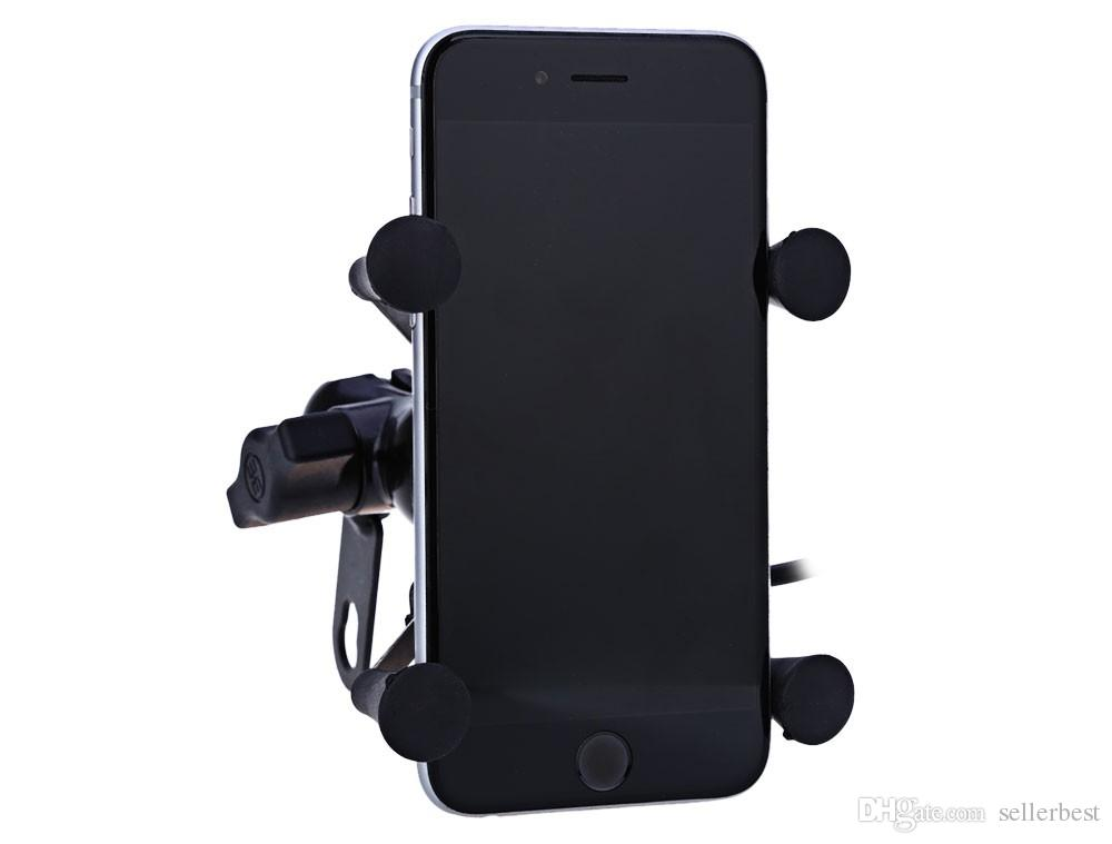 Car motorcycle Stand X-Grip Holder 12V USB Charger Power Outlet Socket for iPhone 6/6 Plus GPS Samsung HTC Sony Smart Phone Holder