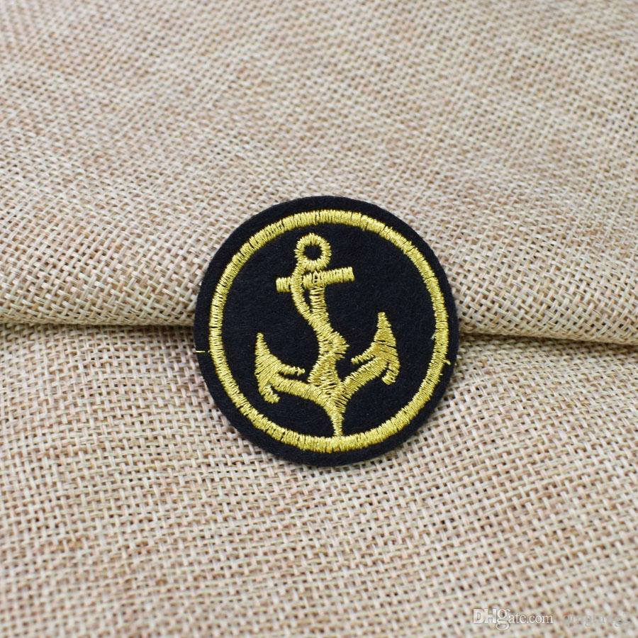 round anchor embroidery badge patches for clothing iron patch for clothes applique sewing accessories stickers on cloth iron on patch