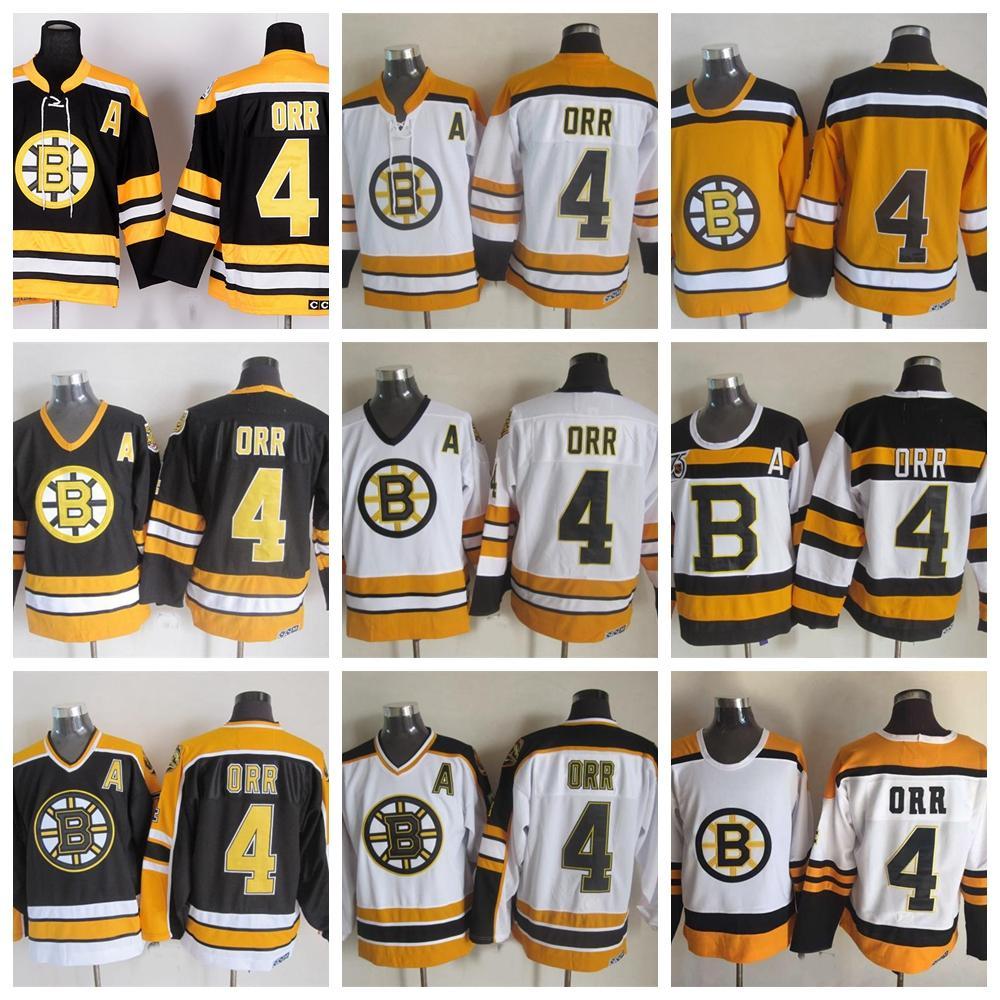 new styles a48fc 47b18 Vintage Boston Bruins Hockey Jerseys #4 Bobby Orr 75th Anniversary Black  Vintage CCM Bobby Orr Stitched Jerseys A Patch S-XXXL