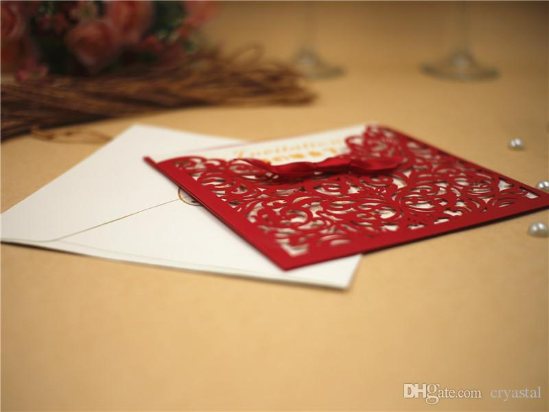 2017 Wedding Invitation Cards Personalized Laser Cut Flower Red Hollow Party Card Printable With RibbonAnd Envelope