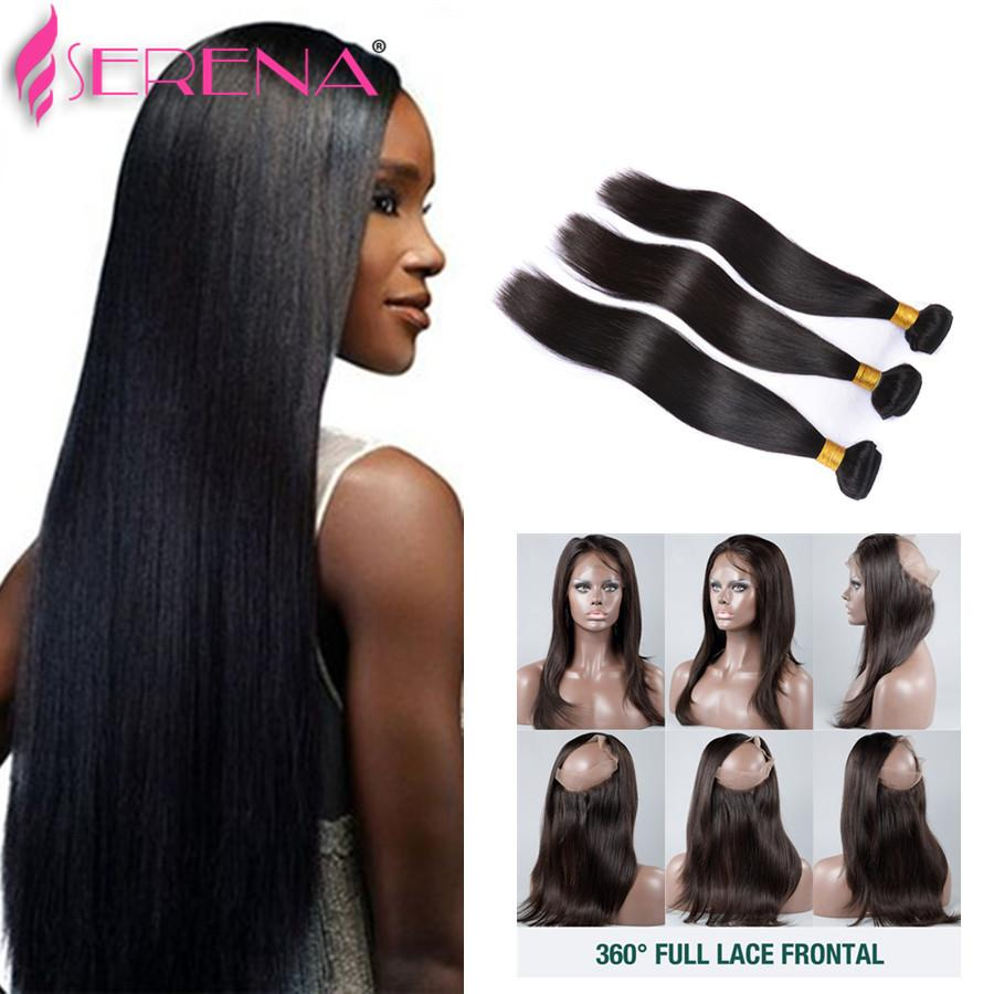 Peruvian Virgin Hair 360 Lace Frontal With Bundles Virgin Straight Hair With Frontal Real Pre Plucked 360 Lace Frontal Closure