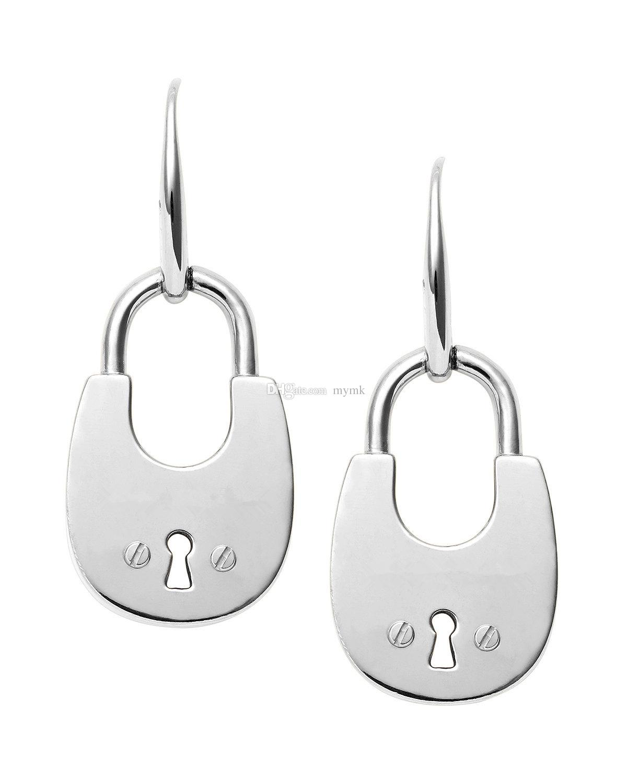 New York Fashion Padlock drop Earrings Tone hoop Earings famous brand luxury jewelry for women silver/rose/gold