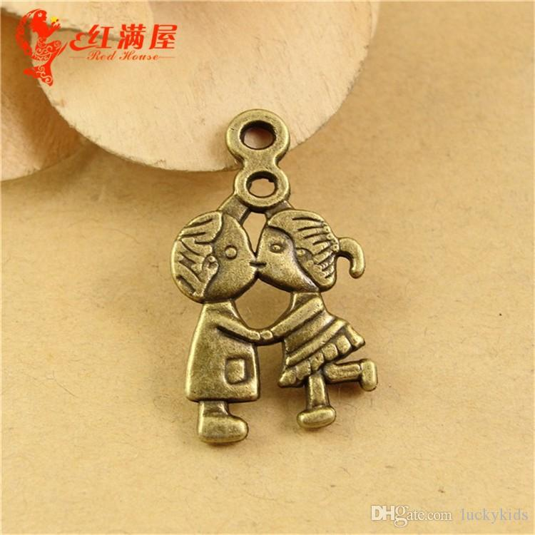 16*27MM Antique Bronze couple charm pendant beads series, small boy and girl lovers charm mobile phone accessories retro jewelry