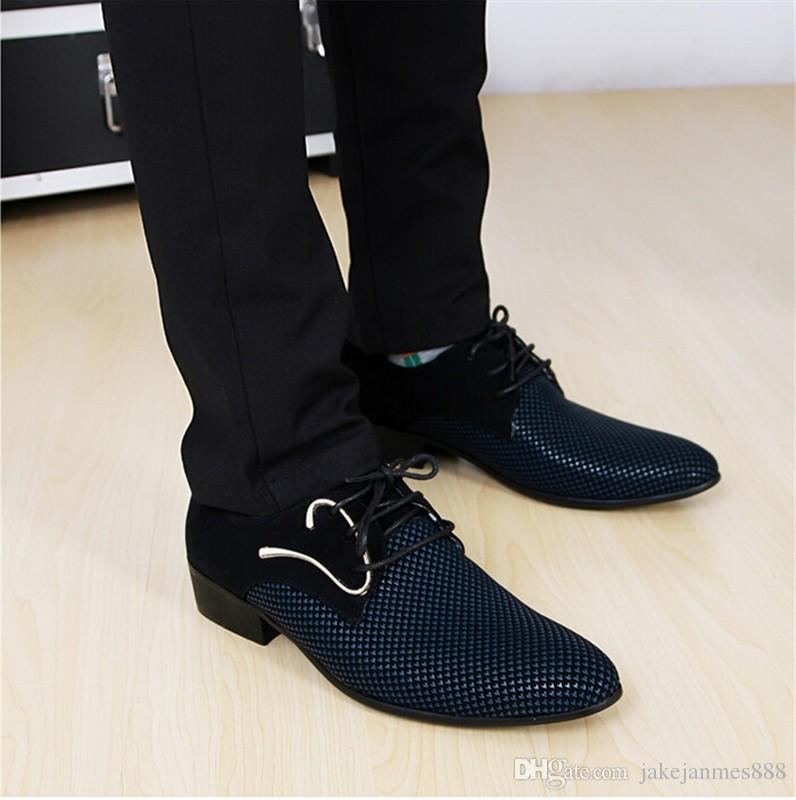 Fashion Lace Up Color Matching Men Suit Dress Shoes Office Men S