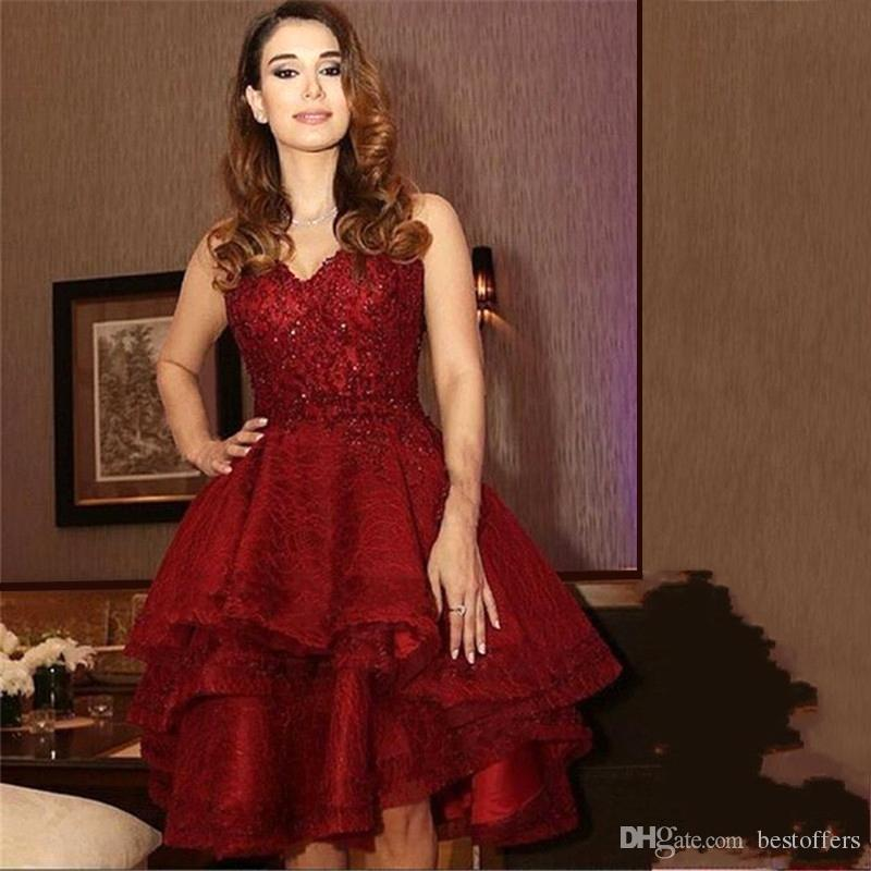 Dark Red Fashion Prom Dresses 2017 V Neck Ruffles Organza Vintage Lace With Beads A Line Pageant Party Gowns Formal Short Cocktail Dresses