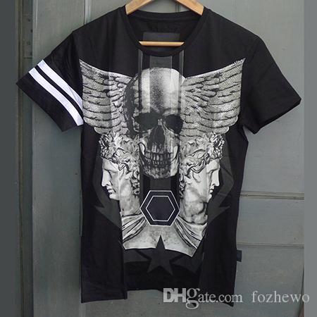 Camiseta de hombre Rhinestone Skull Printed Graphic Tops Tees Casual camiseta Homme Crewneck manga corta camiseta Ropa de marca para hombres