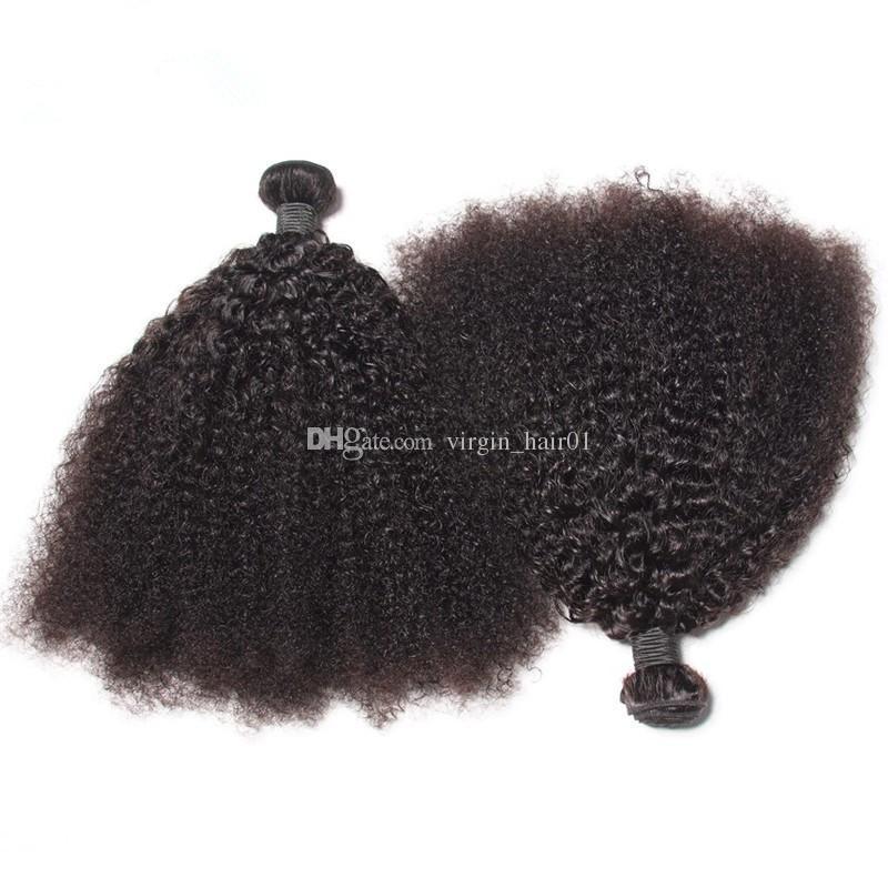 Cheap 9A virginal mongol rizado pelo nudos blanqueados 100% Afro Kinky rizado virgen virginal paquetes de pelo sin vertimiento sin enredo