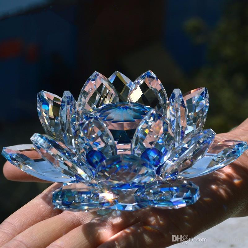 8 cm crystal glass lotus flower paperweight feng shui natural stones 8 cm crystal glass lotus flower paperweight feng shui natural stones and minerals souvenirs craft gift for home wedding decor feng shui glass lotus flower mightylinksfo