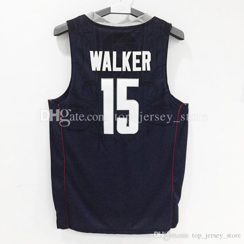 14a5a4e86a2e ... 2017 Hot Sale Uconn Huskies Kemba Walker 15 College Basketball Jersey  White Navy Blue 100% ...