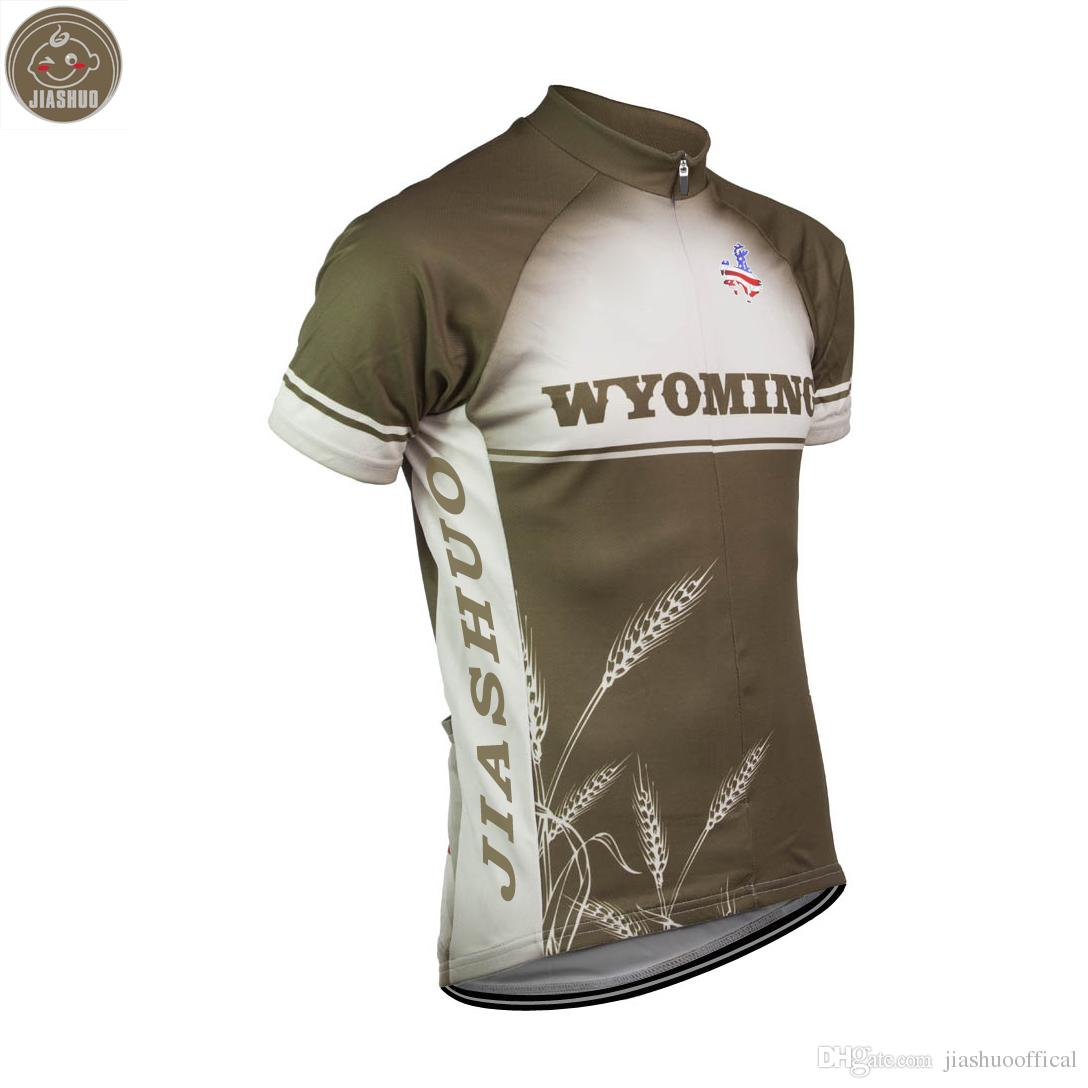 Customized NEW 2017 USA WYOMING WHEAT Classical JIASHUO mtb road RACING Team Bike Pro Cycling Jersey / Shirts & Tops Clothing Breathable