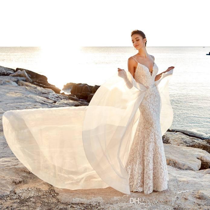 Elegant Mermaid Lace Bohemian Wedding Dresses With Detachable Train Backless Beach Wedding Dress Sweep Train Sequined Boho Bridal Gowns