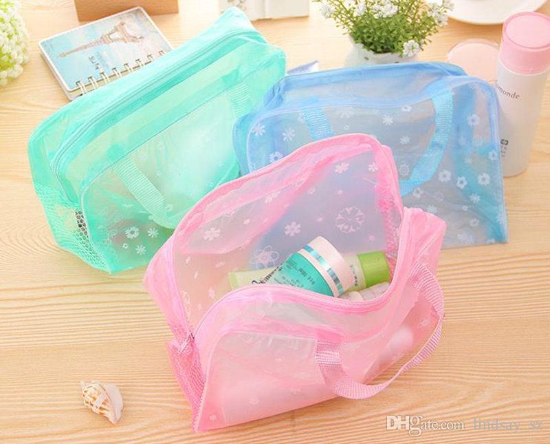 Sacs de maquillage Sacs cosmétiques Transparent PVC imperméable à l'eau Floral Print pour toilette poche de bain Voyage expédition rapide