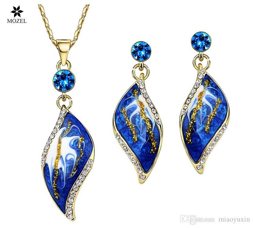 Wholesale MOZEL Gold Plated Enamel African Costume Fashion Brand Jewelry Sets Bridal Bridesmaid Engagement Indian Gifts