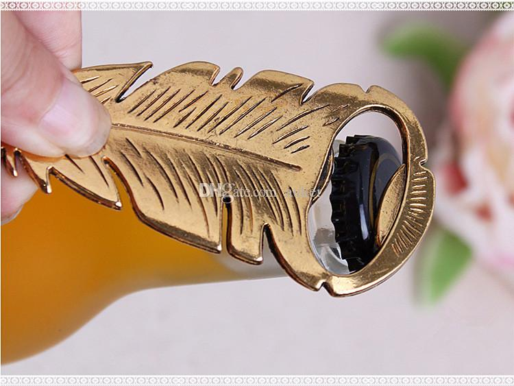 Wedding Favors Gifts Gold Peacock Feather Beer Bottle Opener Party Decoration Supplies Gold Bird Plumage Bottle Lid Opener+DHL