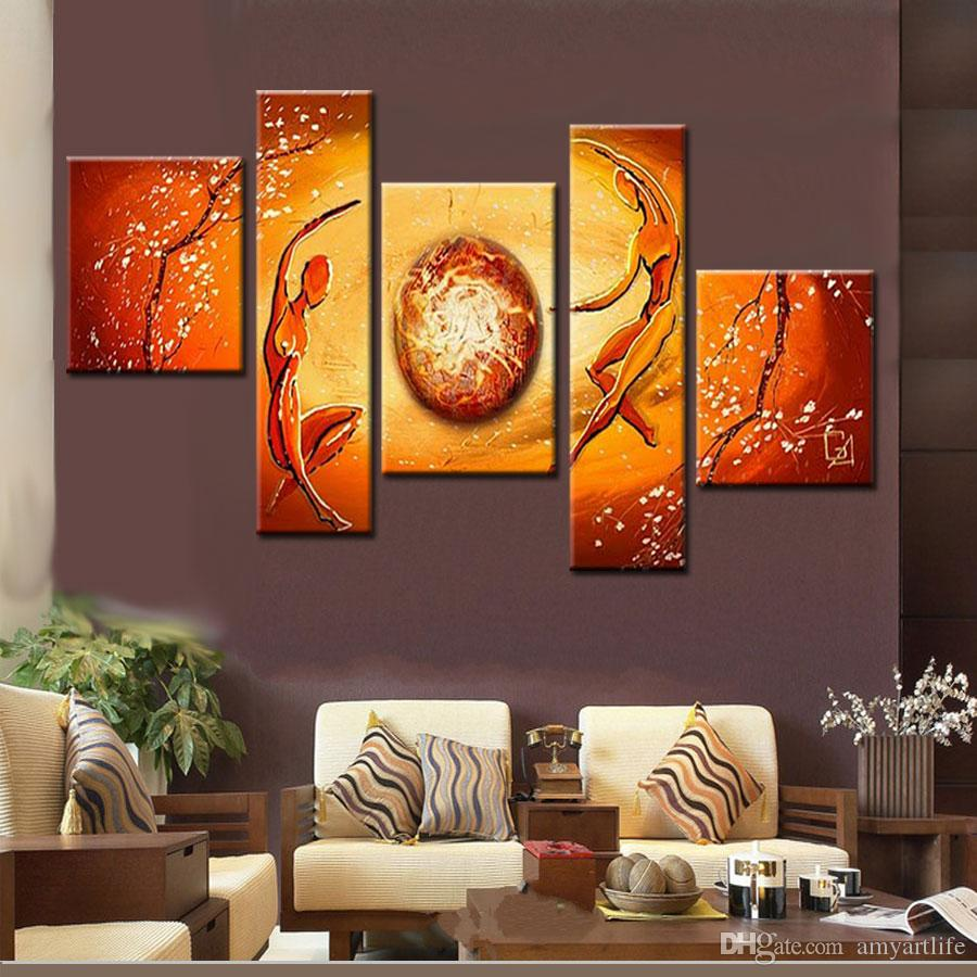 100% hand made modular paintings multi panel cancas wall art orange yellow figure oil painting home decoration art sets gift no frame