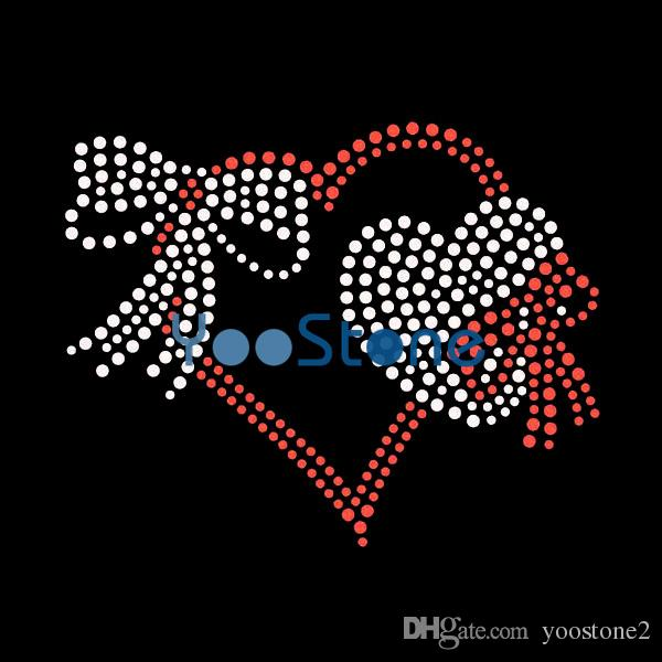2019 Ribbon Love Heart Rhinestone Iron On Transfers Hot Fix Hotfix Applique  From Yoostone2 392a333f3c25