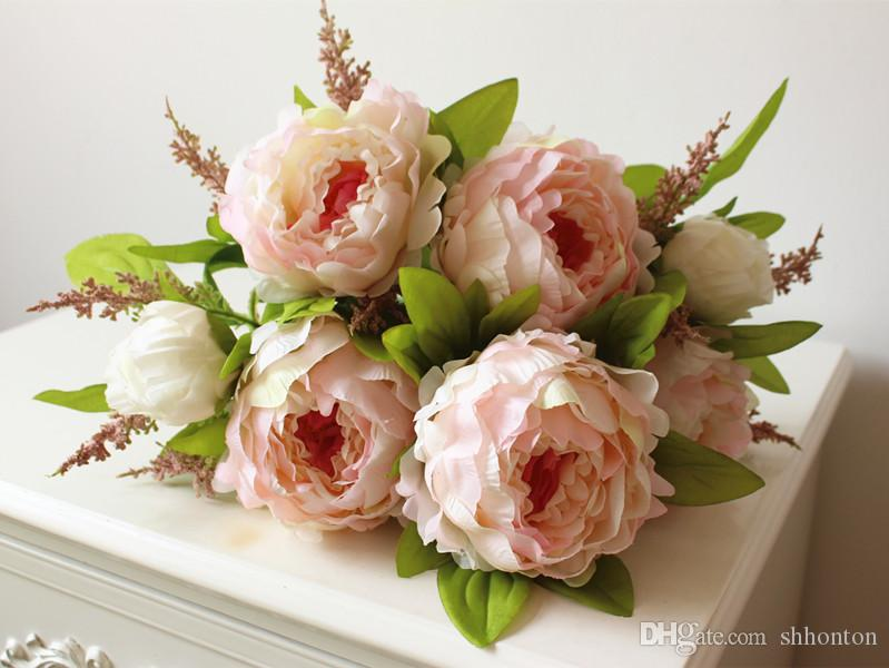 la decoración del hogar de flores de peonía hermosa hecha a mano artificial del Peony de las flores Manojo Accesorios de novia jardín granel corredores 7 cabezas de las flores de peonía