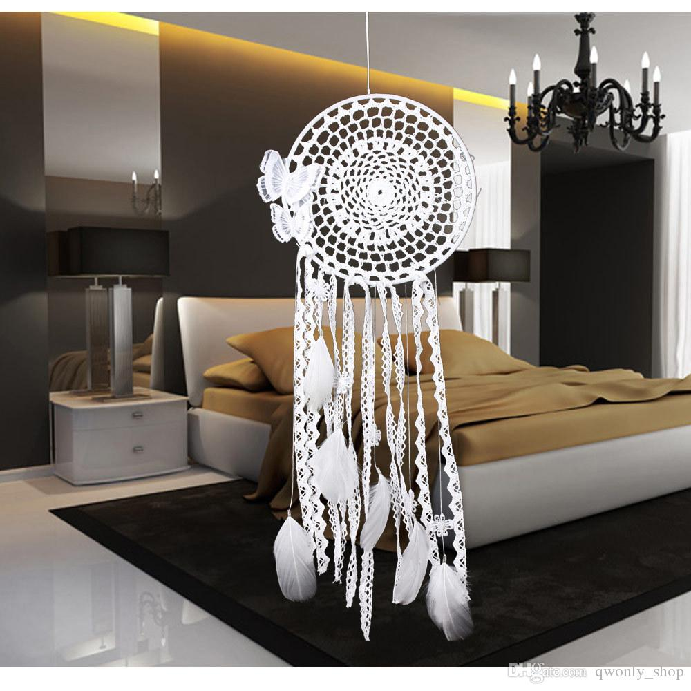 White Handmade Butterfly Dream Catcher Feather Bead Dreamcatcher For Window/Car/ Wall Hanging Decoration Ornament Gift