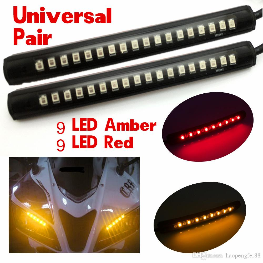 2x Universal Flexible 18 LED Amber/Red Motorcycle ATV Tail Brake Stop Turn  Signal Taillight Warnning Strip Light