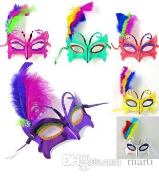 20pc women upper face Plastic Feather Masquerade Carnival Mardi Gras Masks Venetian Masks for wedding party ball H29