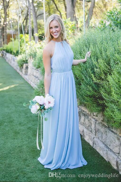 Light Sky Blue Cheap Halter Split Bridesmaid Dresses 2017 A Line Chiffon Wedding Guest Party Dresses Summer Beach Long Bridesmaid Gowns