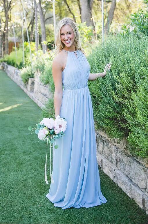 Luz azul cielo barato halter Split vestidos de dama de honor 2017 una línea de gasa boda invitados vestidos de fiesta verano playa vestidos largos de dama de honor