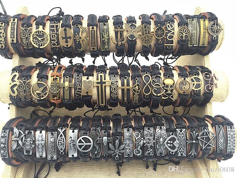 Оптовая продажа 100 шт. / лот Mix стиль металл кожа манжеты Шарм браслеты для мужчин и женщин ювелирные изделия партии подарки браслет
