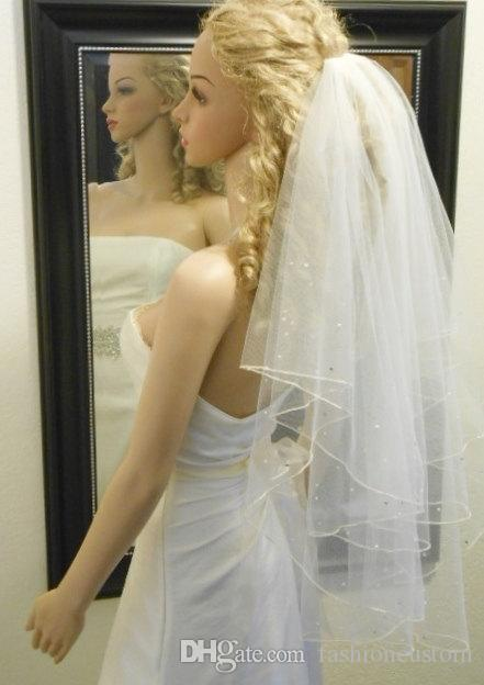 Ellenbogenlänge Champagner Weiß Elfenbein Hochzeitsschleier One Layer Line Rand RIONSTONE Pearl Brautschleier mit Kamm