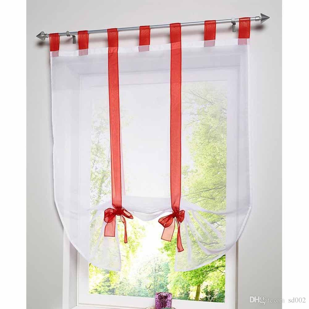 Transparent Sheer Curtains With Bowknot Window Curtain Gauze