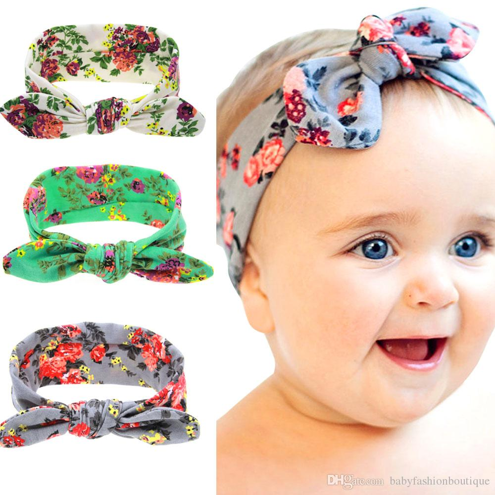 040d96b6e821 Kids Floral Printed Bowkont Headbands for Girls Infant Elastic Hair ...