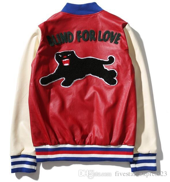 902dab80d Foreign 2017 Black Leopard Bee Print Leather Jackets Blind For Love ...