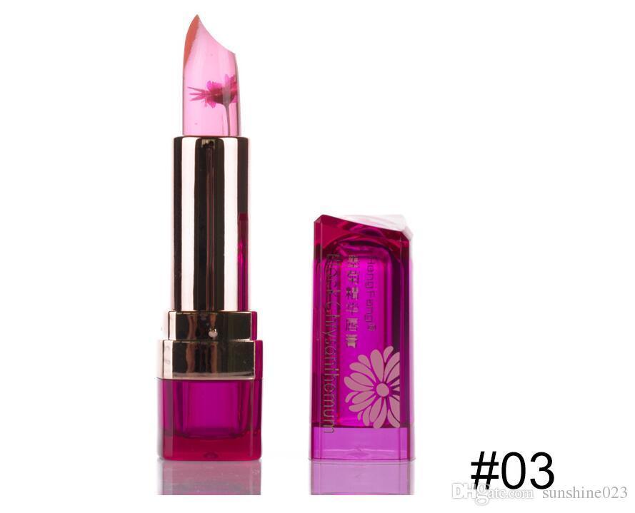 2017 caliente listado cambio de temperatura bálsamo labial de color es a prueba de agua de larga duración dulce transparente jalea flor rosa hidratante lápiz labial