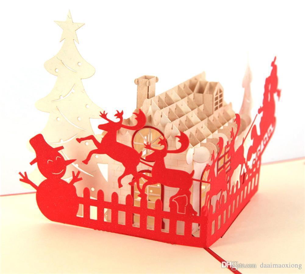 3d Pop Up Greeting Card Santa Deer Sleigh Handmade Merry Christmas