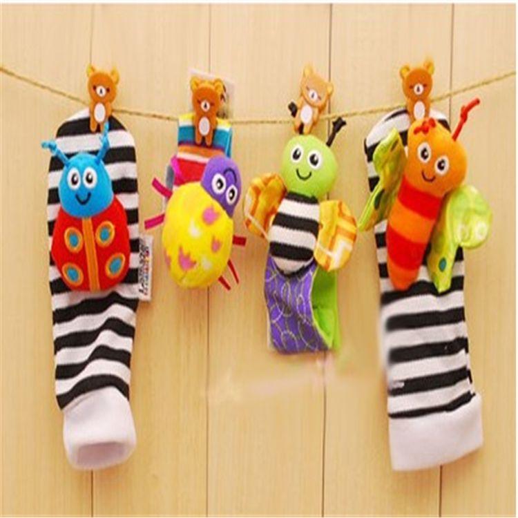 Baby Socken Rassel Socken Sozzy Handgelenk Rassel Fußsucher Babyspielzeug Lamaze Handgelenk Rassel + Fuß L001