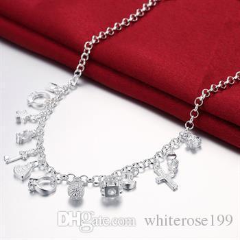 Wholesale  - 小売価格クリスマスプレゼント、送料無料、新しい925シルバーファッションネックレスYN021