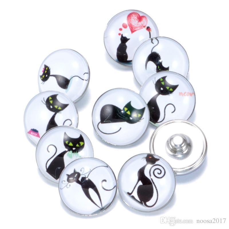 Neue 18mm Ingwer Snaps Taste Glas Kristall Kawai Taste Tier niedlichen katzen serie Muster Fit Charme Armbänder DIY Schmuck noosa chunks