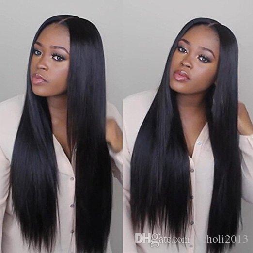 Tutkalsız Dantel Frontal Peruk 8A Brezilyalı Bakire Saç Düz 250% yoğunluk Ön Koparıp Tam Dantel İnsan Saç Peruk Siyah kadınlar için