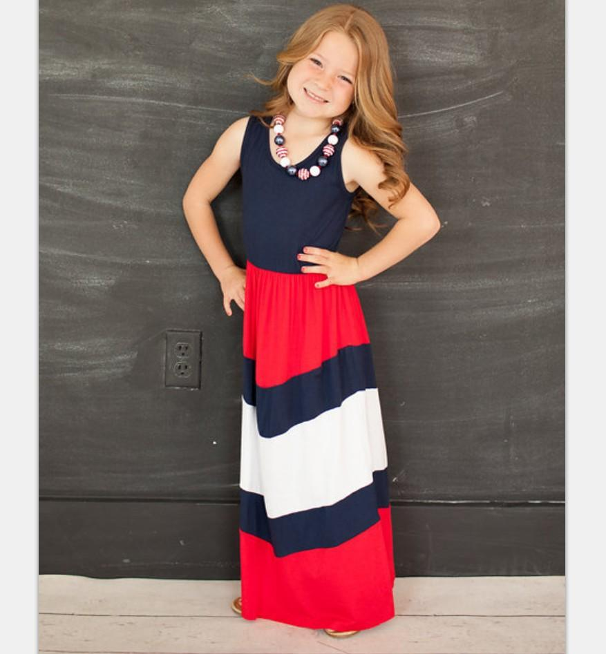 2017 New 1x Mother And Daughter Dresses Set Red Blue Patchwork Chevron Mom & Kids Ins Hot Sleeveless for Family Matching Outfits