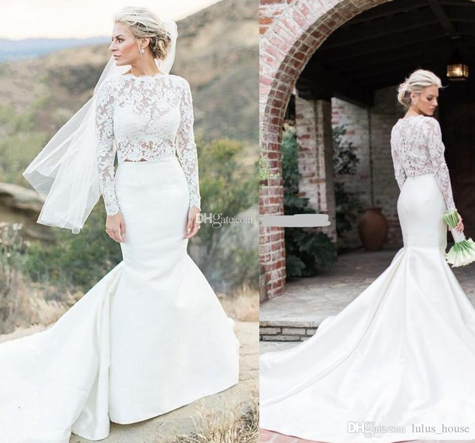 2018 chic two pieces mermaid wedding dresses long sleeves lace 2018 chic two pieces mermaid wedding dresses long sleeves lace bridal dresses separate satin train illusion bridal crop tops white dresses formal dresses ombrellifo Images