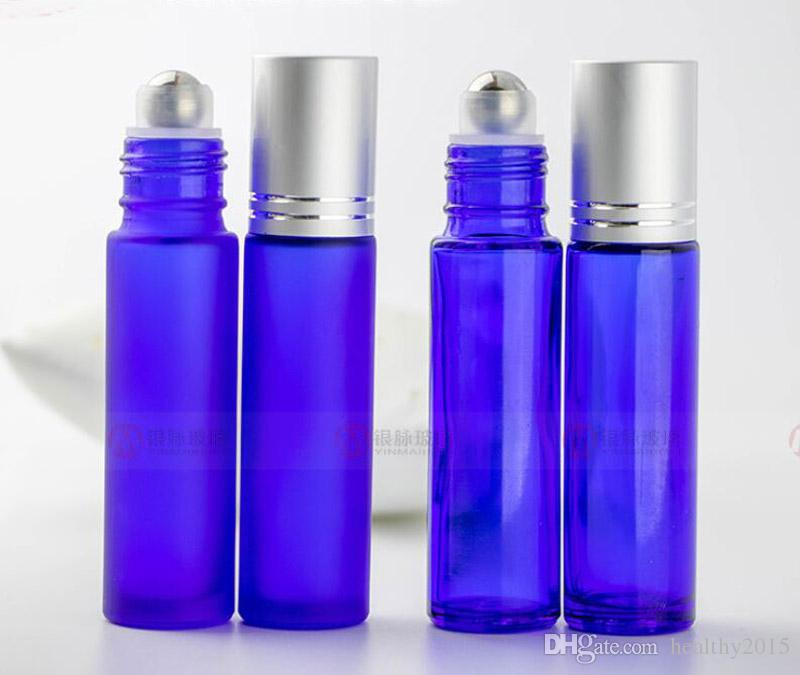 10ml Glass Roll on Bottles 1/3 oz Blue Aromatherapy Essential Oil Roller Bottles with Metal Ball & Brushed Cap