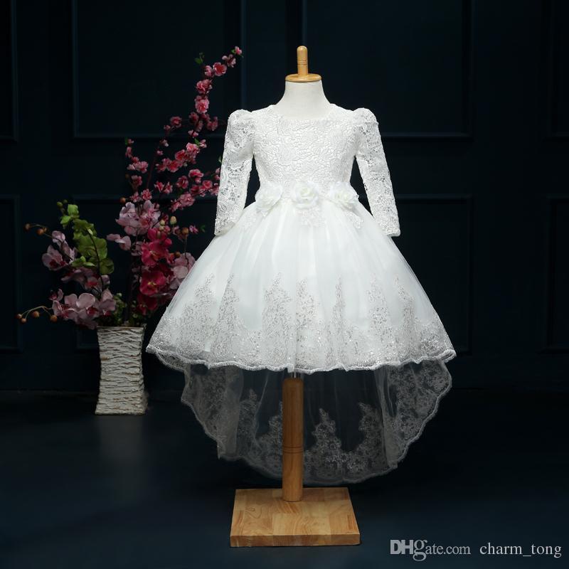 New Flower Girl Robes à manches longues Haute Low Communion Party Pageant Dress pour Little Girls Enfants / Enfants Dress for Wedding