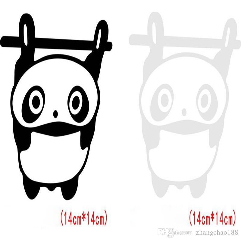 1 unid Pegatinas de Dibujos Animados Divertidos Cubierta Modificada Cola Rayada Pegatinas Lindas 14 cm * 14 cm Pegatinas de Coche Panda Pegatinas de Coche Auto Pasters