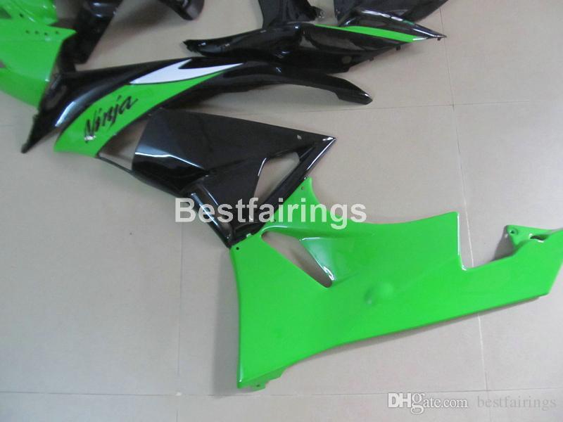 Kit de carénage moto haut de gamme pour Kawasaki Ninja ZX6R 09 10 kit de carénage noir vert ZX6R 2009 2010 GT20