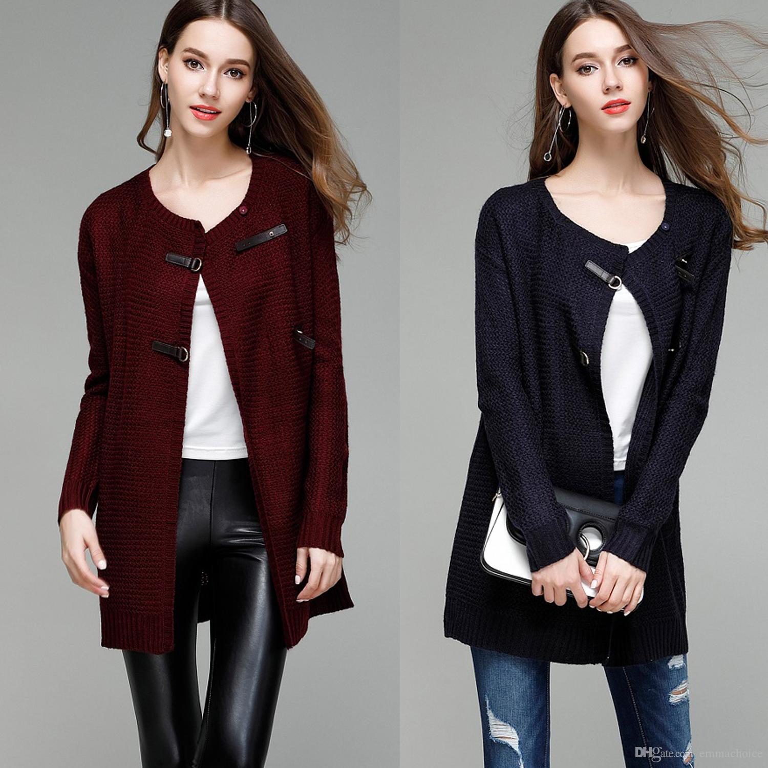 2018 Women Leather Button Down Crew Neck Long Sleeve Soft Knit ...