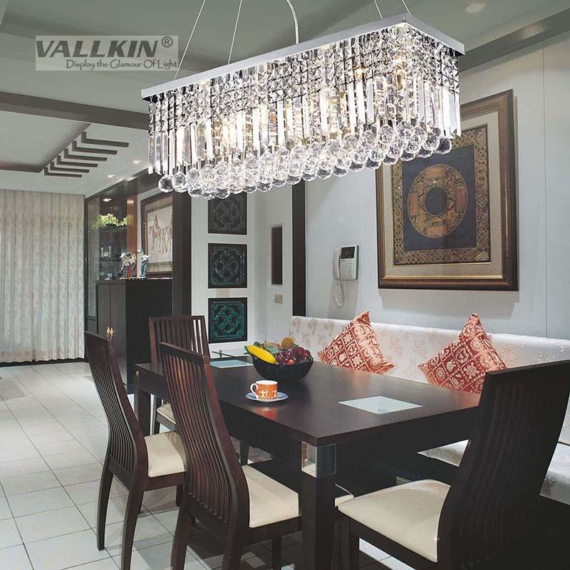 Vallkin 174 Modern Rectangular Crystal Chandelier Dining Room Length Multiple Size Led Cyrstal