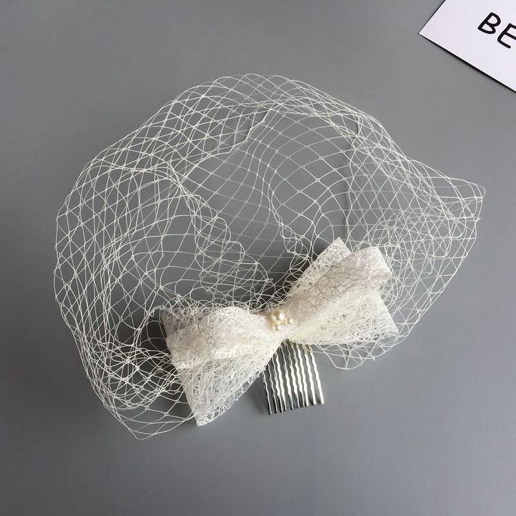 Woman headdress hair The bride of Pearl lace bow hair comb hair forehead stereo veil wedding dress with black and white accessories