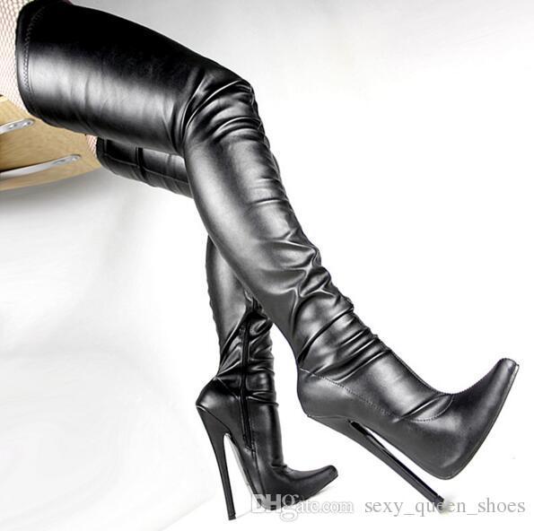 Livraison gratuite femmes 7 talons hauts bottes crotch Fetish Sexy Stiletto chaussure à talon mince