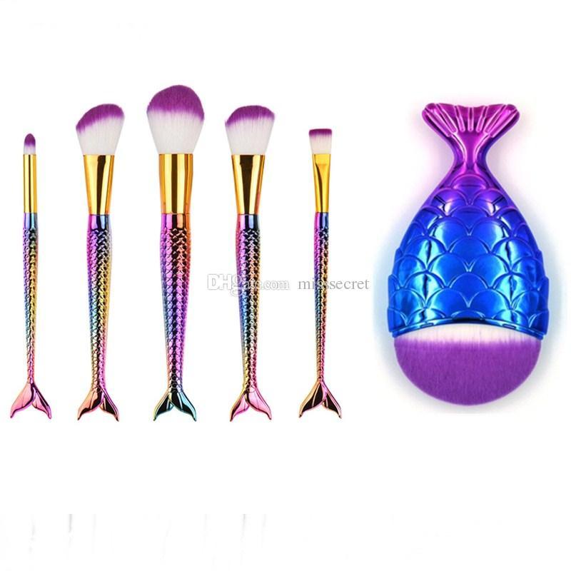 Русалка хвост макияж кисти установить большой рыбий хвост Pro Фонд порошок тени для век макияж кисти 6 шт. / компл. контур смешивания косметические Весы Brushs