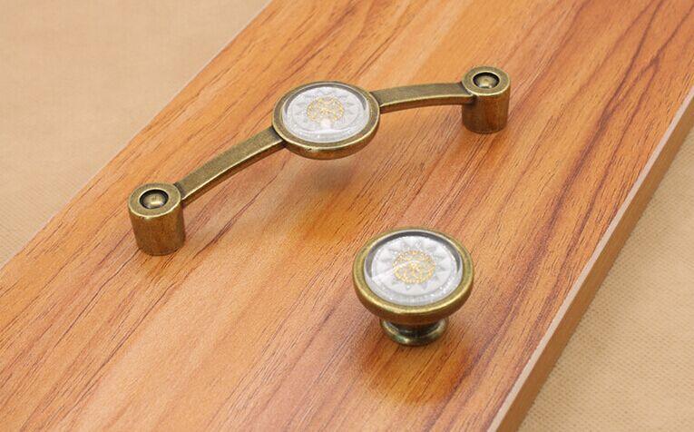 Vintage Mode Kristall Möbelgriffe 110mm Bronze Kommode Küchenschrank zieht Antik Messing rot grün weiß Schubladenknöpfe
